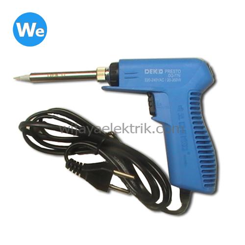 Jual Solder Tembak Dekko DQ 77-N 20-200 Watt dengan dua daya / panas yang bisa dipilih. Pada mode normal daya 20 Watt. Dengan menekan button panas menjadi ...